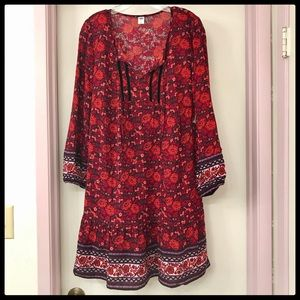 Long sleeve dress, fully lined, Floral print